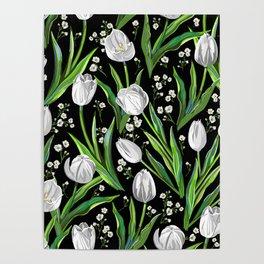 White Tulips + Babys Breath | Black Poster