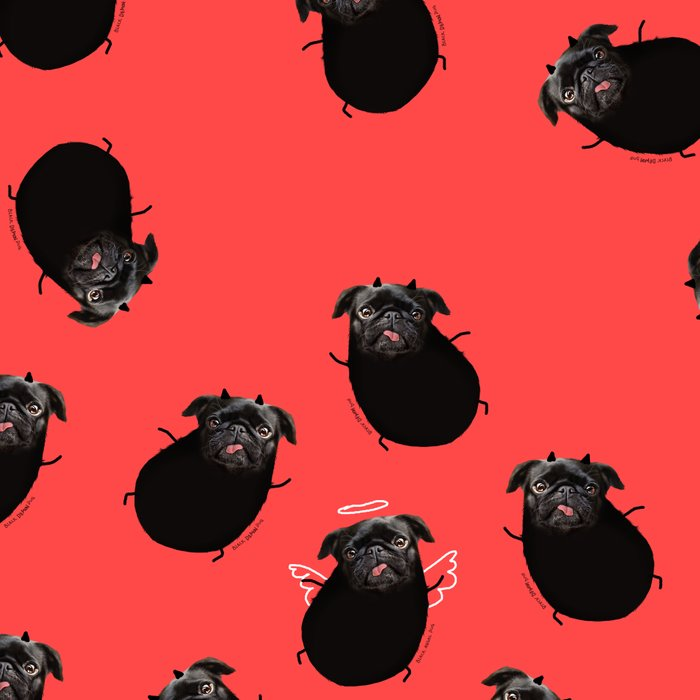 Black Angel Pug Leggings