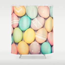 Colorful Easter Egg Photograph - Pink, Teal, Green Yellow and Orange Shower Curtain