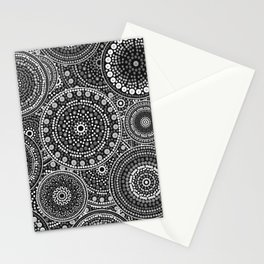 Dot Art Circles Grayscale Stationery Cards