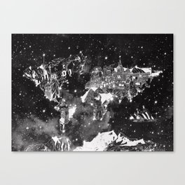 world map galaxy black and white Canvas Print