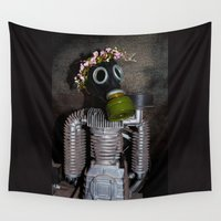 soviet Wall Tapestries featuring Household robot with gasmask by Guna Andersone & Mario Raats - G&M Studi