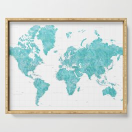 Highly detailed watercolor world map in aquamarine Serving Tray