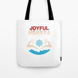 Joyful Merry & Blessed Christmas Reindeer Snow Tote Bag