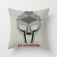 gladiator Throw Pillows featuring GLADIATOR by Alejandro de Antonio Fernández
