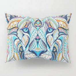 Blue Ethnic Lion Pillow Sham