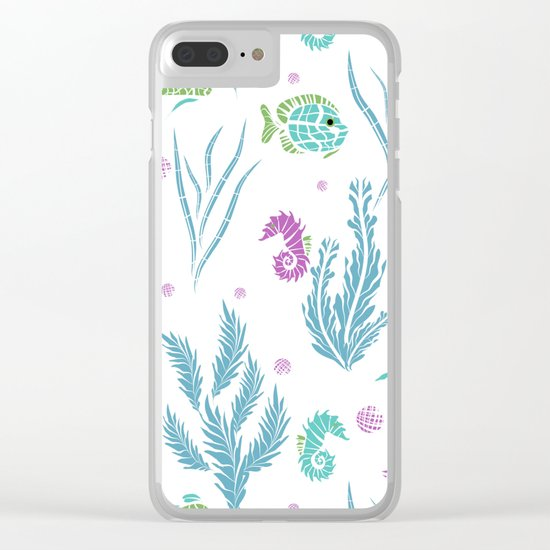 Sea , fish , seaweed , baby pattern . 2 Clear iPhone Case