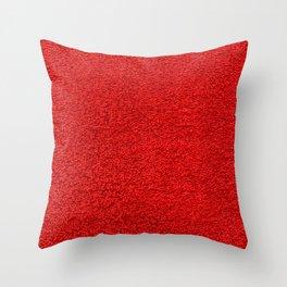 Rose Red Shag pile carpet pattern Throw Pillow