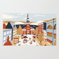 vermont Area & Throw Rugs featuring Burlington, Vermont by Sam Brewster