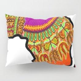 Orange Dashiki Africa Map Pillow Sham