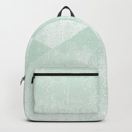 Mint Green and White Geometric Triangles Lino-Textured Print Backpack