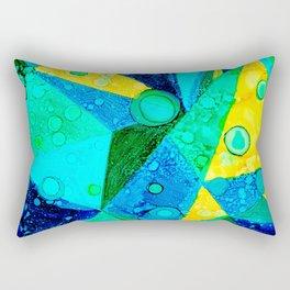 Blue Triangles Abstract Rectangular Pillow