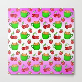 Cute happy funny Kawaii baby kittens sitting in little green espresso coffee cups, ripe red summer cherries and strawberries fruity colorful white and pink design. Metal Print