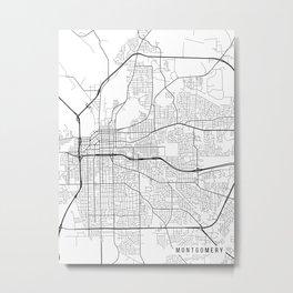 Montgomery Map, Alabama USA - Black & White Portrait Metal Print