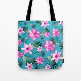 Tropical Flowers Palm Leaves Finesse #3 #tropical #decor #art #society6 Tote Bag