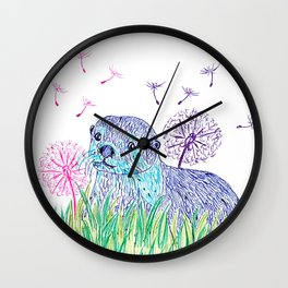 Otter in colors Wall Clock