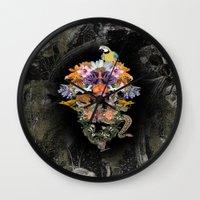 animal skull Wall Clocks featuring ANIMAL SKULL by sametsevincer
