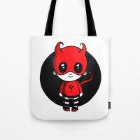 devil Tote Bags featuring Devil by Chrystal Elizabeth