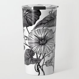 Victorian Botanical Illustration of Convolvulus in Full Bloom Travel Mug