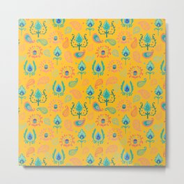 Yellow Ikat Doodle Pattern Metal Print