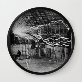NIKOLA TESLA AT WORK Wall Clock