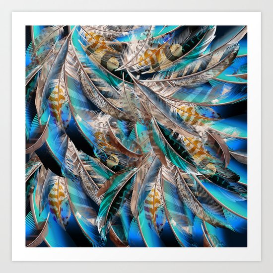Fashion pattern with blue feathers. Trendy design Art Print