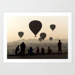 Hot-air Balloons over Bagan, Myanmar Art Print