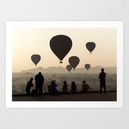 Hot-air Balloons over Bagan, Myanmar Art Print