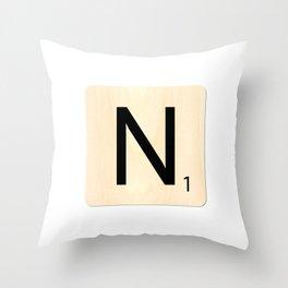 Scrabble N Throw Pillow