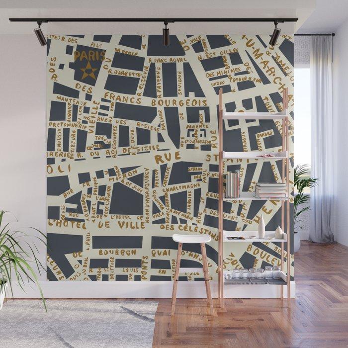 PARIS MAP GREY GOLD Wall Mural