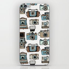 Hand drawn seamless pattern of old fashioned photo camera iPhone Skin