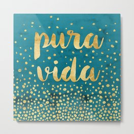 Pura Vida Gold on Teal Metal Print