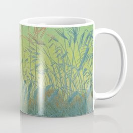Pan Berlin - 1896-1897 Beautiful Turquoise Sunset Landscape Wheat Field With Moon Coffee Mug