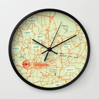 maps Wall Clocks featuring Maps - Johannesburg by DRIEHOEK