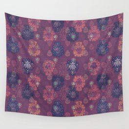 Lotus flower - mulberry woodblock print style pattern Wall Tapestry