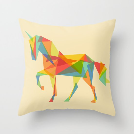 Fractal Geometric Unicorn Throw Pillow