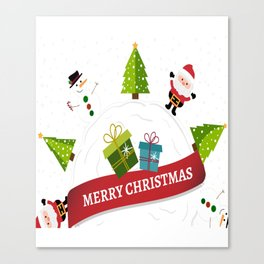 Merry Christmas From Santa & Snowman Canvas Print