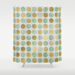 Gold and Teal Polka Dots Shower Curtain