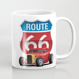 Route 66 Sign with Classic American Red Hotrod Coffee Mug