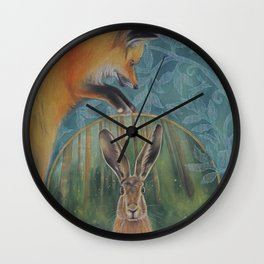 The Fox and the Hare Wall Clock