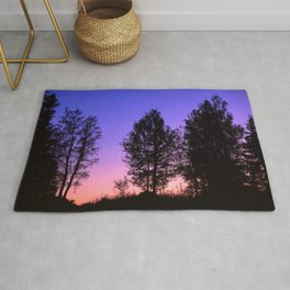 Nightfall. Purple and pink sky in the forest after sunset. Rug