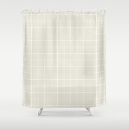 Grid 1 - White on Greige Shower Curtain