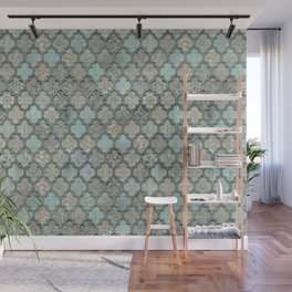 Old Moroccan Tiles Pattern Teal Beige Distressed Style Wall Mural