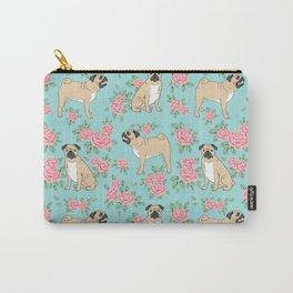 Pug florals pattern minimal modern pet friendly dog breed custom pet art Carry-All Pouch