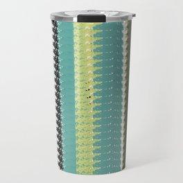 Green, Black, and Blue Woven Blanket Design Travel Mug