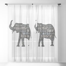 Elephant with words Sheer Curtain