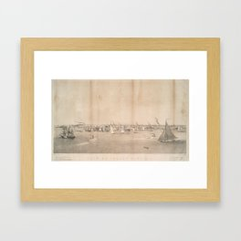 Vintage Pictorial View of Jersey City NJ (1866) Framed Art Print