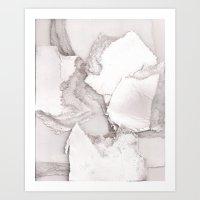 White Cardboard Collage Art Print
