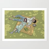 Romantic Picnic  Art Print