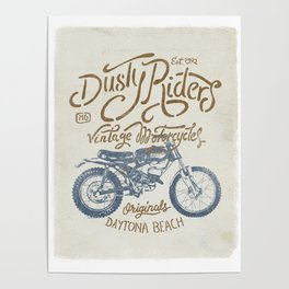 Dusty Riders Vintage Motorcycles Poster